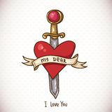 Doodle Greeting Card with sword, ribbon and heart Royalty Free Stock Photos
