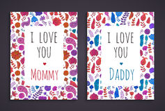 Doodle greeting card templates Stock Image
