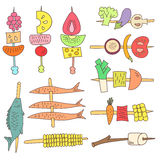 Doodle grill vegetables, fish and fruits. Vector set of colorful doodle grill vegetables, fruits and fish  on white background Stock Photography