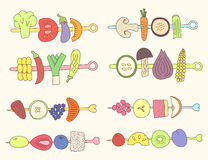 Doodle grill vegetables and fruits Royalty Free Stock Photo