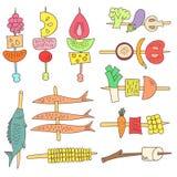 Doodle grilla warzywa, ryba i owoc, Fotografia Stock