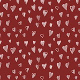 Doodle grunge hearts pattern. And background Royalty Free Stock Photo