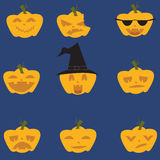 Doodle Halloween expresion pumpkins Stock Images