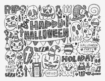 Doodle halloween holiday background Stock Photo