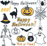 Doodle halloween set Royalty Free Stock Photo