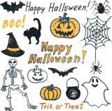 Doodle halloween set Royalty Free Stock Photo