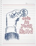 Doodle hand and dollar coin. Vector art sign or symbol or illustration Royalty Free Stock Image