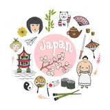 Doodle hand draw collection of Japan icons. Culture elements for design. Vector illustration in color Stock Image
