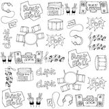 Doodle of hand draw music set Stock Photography