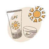 Doodle Hand drawing. Doodle image sunblock cream for body skin care. Doodle Hand drawing. Sun Stock Image