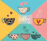 Doodle hand drawing set of coffee cups in different pattern designs. Doodle hand drawing set of vintage coffee cups in different pattern designs Vector Illustration