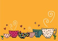 Doodle hand drawing set of coffee cups in different pattern designs. Doodle hand drawing set of vintage coffee cups in different pattern designs Stock Illustration