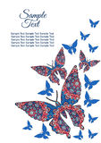 Doodle Hand drawing. Spring postcard, cover, bright background for inscriptions. Butterflies fly upward. Cute pattern blue Royalty Free Stock Photos