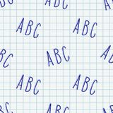 Hand drawn Abc seamless pattern. Doodle hand drawn ABC letters seamless pattern. Vector background illustration in blue over squared notebook sheet Stock Photo