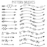 Doodle hand drawn arrows brushes set.Valentine's Royalty Free Stock Photography