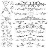 Doodle hand drawn arrows,hearts,deviders,borders stock illustration