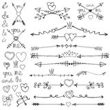 Doodle hand drawn arrows,hearts,deviders,borders vector illustration
