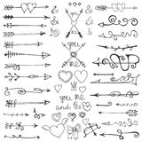 Doodle hand drawn arrows, hearts, elements. Valentine