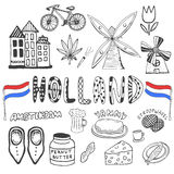 Doodle hand drawn collection of Holland icons. Netherlands culture elements for design. Vector illustration with travel objects. Stock Image