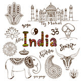 Doodle hand drawn collection of India icons.  Royalty Free Stock Photos