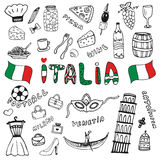 Doodle hand drawn collection of Italy icons. Italy culture elements for design. Vector travel set. Handwriting Italia lettering in. Doodle hand drawn collection Stock Images