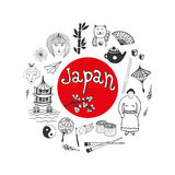 Doodle hand drawn collection of Japan icons. Japan culture elements for design. Vector illustration. Royalty Free Stock Photography