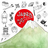 Doodle hand drawn collection of Japan icons with watercolor mountain. Japan culture elements for design. Vector illustration. Stock Image