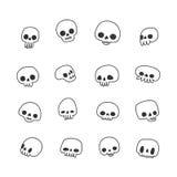 Doodle hand drawn cute naive skulls vector set. Black and white Stock Image