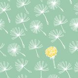 Doodle hand drawn dandelion flowers on blue. Vector seamless minimalistic pattern. Endless pattern for wallpaper Royalty Free Stock Photo