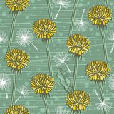 Doodle hand drawn dandelion flowers on blue. Vector seamless minimalistic pattern. Endless pattern for wallpaper Royalty Free Stock Image