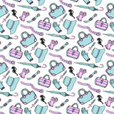 Doodle hand drawn fashion accessories and handbags seamless pattern in blue and pink pastel colors. Sketch shopping background Royalty Free Stock Photos