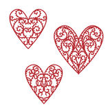 Doodle hand drawn filigree valentine hearts Stock Photos