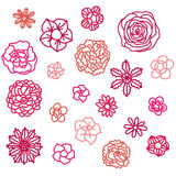 Doodle hand drawn flower illustrations Royalty Free Stock Photos