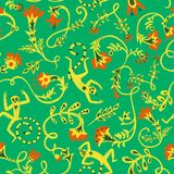 Doodle  hand drawn flowers and lemusr pattern. Vintage hand drawn seamless pattern with flower elements and cute lemurs Royalty Free Stock Image