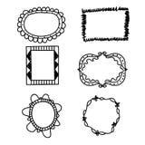 Doodle Hand drawn frames set. Vector illustration Stock Photography