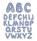 Doodle hand drawn funny alphabet Royalty Free Stock Photo