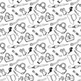 Doodle hand drawn girl fashion accessories and handbags seamless pattern royalty free illustration