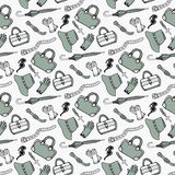 Doodle hand drawn girls fashion accessories and handbags seamless pattern. Royalty Free Stock Photo