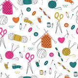 Seamless Pattern with Needlework Doodle on White Background. Doodle Hand Drawn Handmade Seamless Pattern. Pattern with Knitting and Sewing Tools vector illustration