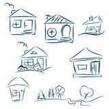 Doodle hand drawn houses. Pencil vector sketch. Dark blue houses Royalty Free Stock Image