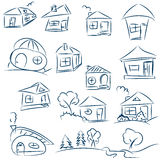 Doodle hand drawn houses. Pencil vector sketch. Dark blue houses Stock Photo