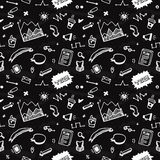 Doodle hand drawn info graphic elements seamless vector pattern Royalty Free Stock Images