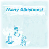Doodle hand drawn Merry Christmas illustration. Candle, sock and sweets on the watercolor background. Stock Images