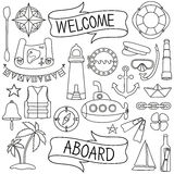 Doodle hand drawn nautical decor set Royalty Free Stock Photos