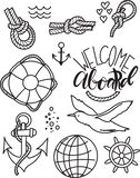 Doodle hand drawn nautical decor set. Graphic design elements. Vector illustration stock photography
