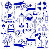 Doodle hand drawn nautical decor set Royalty Free Stock Images