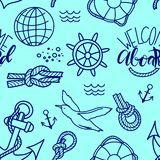 Doodle hand drawn nautical seamless pattern illustration with knots Lifebuoy and lettering welcome aboard royalty free stock images