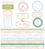 Doodle Hand drawn seamless line border with logo royalty free illustration