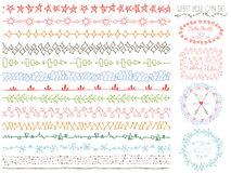 Doodle Hand drawn seamless line borders set.Colored decor,logo Stock Image