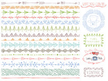 Doodle Hand drawn seamless line borders set.Colored logo Stock Images